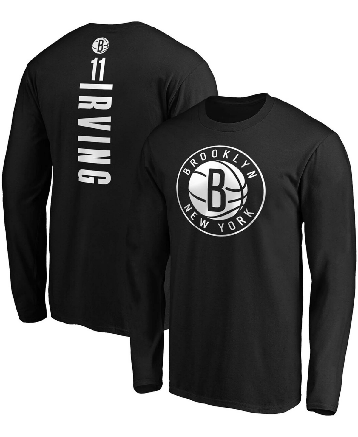 Men's Kyrie Irving Black Brooklyn Nets Team Playmaker Name and Number Long Sleeve T-shirt