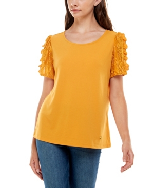 Women's Lace Sleeve Top with Tie Back