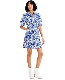 Printed Puff-Sleeve Shirtdress, Created for Macy's