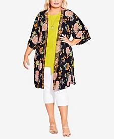Plus Size Celine Embroidered Kimono