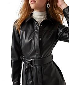 Patti Faux-Leather Shirtdress