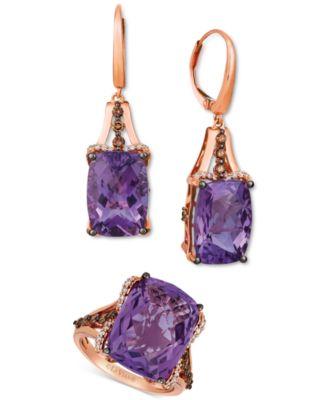 Grape Amethyst (12 ct. t.w.) & Diamond (3/8 ct. t.w.) Drop Earrings in 14k Rose Gold