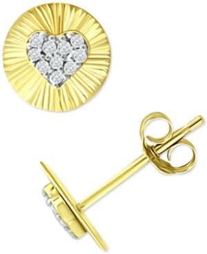 Cubic Zirconia Heart Disc Stud Earrings