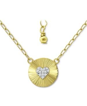Cubic Zirconia Heart Cluster Disc Pendant Necklace