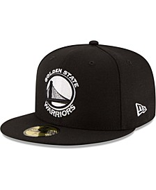Men's Golden State Warriors Black & White Logo 59FIFTY Fitted Cap