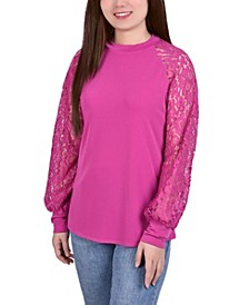 Women's Knit Crepe with Long Lace Balloon Sleeves Top