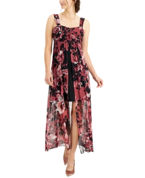 Printed High-Low Midi Dress