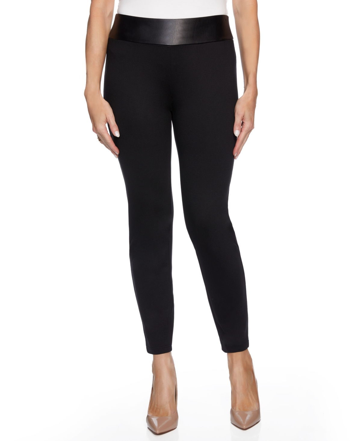 Women's Mixed Media Skinny Leg with Faux Leather Waistband Pants