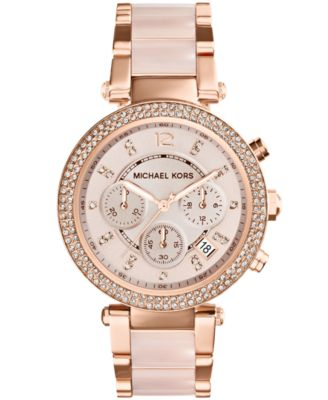 Image of Michael Kors Women's Chronograph Parker Blush and Rose Gold-Tone Stainless Steel Bracelet Watch 39mm