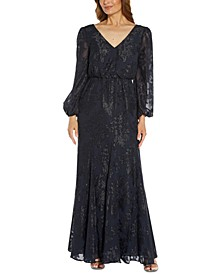 Adrainna Papell Metallic Burnout V-Neck Gown