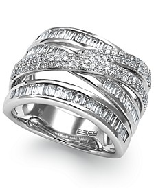 Classique by EFFY® Diamond Crossover Ring in 14k White Gold (1-1/5 ct. t.w.)