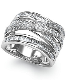 Classique by EFFY Diamond Crossover Ring in 14k White Gold (1-1/5 ct. t.w.)