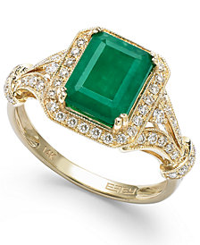 Brasilica by EFFY® Emerald (2-1/5 ct. t.w.) and Diamond (1/3 ct. t.w.) Ring in 14k Gold, Created for Macy's