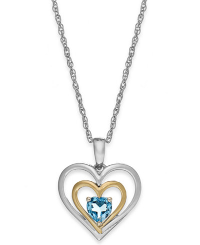 Blue Topaz Heart Pendant Necklace in 14k Gold and Sterling Silver (1/2 ct. t.w.)