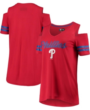 Women's Red Philadelphia Phillies Extra Inning Cold Shoulder T-shirt