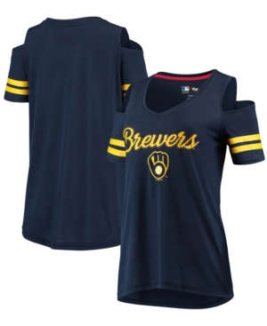 Women's Navy Milwaukee Brewers Extra Inning Cold Shoulder T-shirt