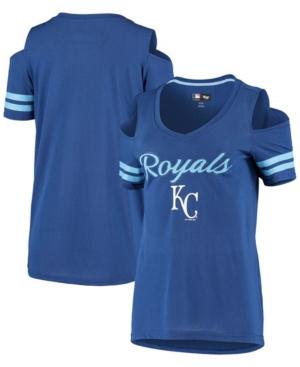 Women's Royal Kansas City Royals Extra Inning Cold Shoulder T-shirt