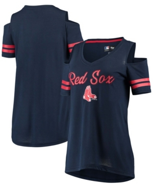 Women's Navy Boston Red Sox Extra Inning Cold Shoulder T-shirt