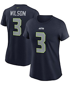 Women's Russell Wilson College Navy Seattle Seahawks Name Number T-shirt