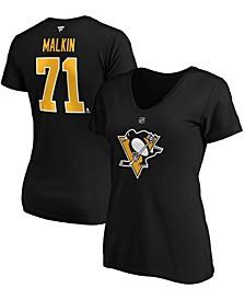Women's Evgeni Malkin Black Pittsburgh Penguins Authentic Stack Name Number V-Neck T-shirt