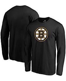 Men's Black Boston Bruins Primary Team Logo Long Sleeve T-shirt