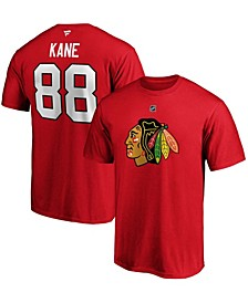 Men's Patrick Kane Red Chicago Blackhawks Team Authentic Stack Name and Number T-shirt