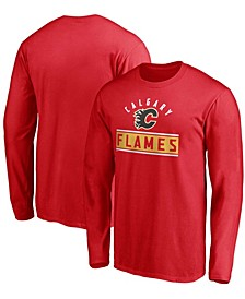 Men's Big and Tall Red Calgary Flames Team Arc Knockout Long Sleeve T-shirt