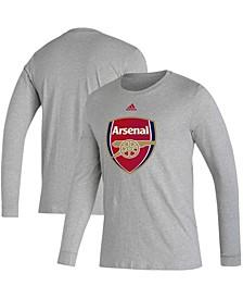 Men's Heathered Gray Arsenal Primary Logo Amplifier Long Sleeve T-shirt