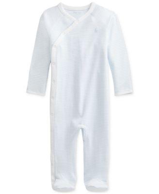 폴로 랄프로렌 Polo Ralph Lauren Baby Boys Striped Cotton Interlock Coverall,Beryl Blue/white