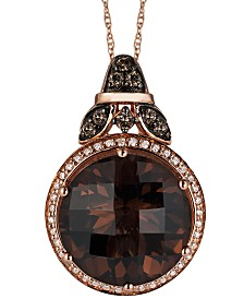 Le Vian Smokey Quartz (8-1/2 ct. t.w.) and White (1/10 ct. t.w.) and Chocolate (1/6 ct. t.w.) Diamond Pendant Necklace in 14k Rose Gold