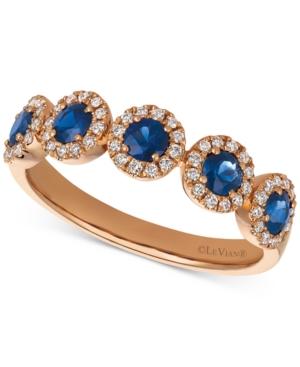 Blueberry Sapphire (5/8 ct. t.w.) & Vanilla Diamond (1/4 ct. t.w.) Ring in 14k Rose Gold