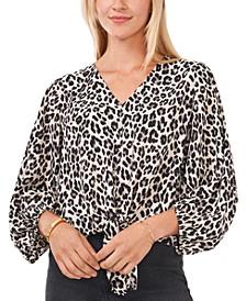 Leopard-Print Tie-Front Blouse