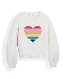 Big Girls Heart Balloon Sleeve Sweater