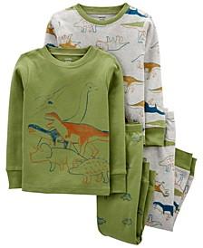 Toddler Boys Dinosaur Snug Fit Cotton Pajama, 4 Piece Set
