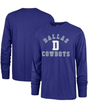 Mens Royal Dallas Cowboys Varsity Arch Throwback Long Sleeve T-Shirt