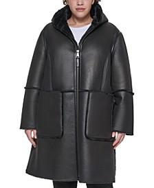 Plus Size Hooded Faux-Shearling Coat
