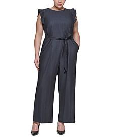Plus Size Ruffle-Sleeve Chambray Jumpsuit