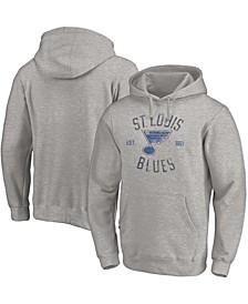 Men's Heathered Gray St. Louis Blues Heritage Pullover Hoodie