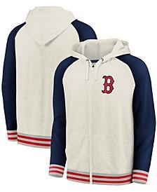 Men's Cream and Navy Boston Red Sox Full-Zip Hoodie
