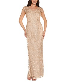 Embroidered Metallic Gown