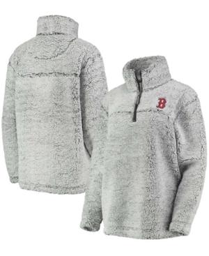 Women's Gray Boston Red Sox Sherpa Quarter-Zip Pullover Jacket