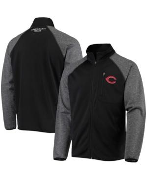 Men's Black Cincinnati Reds Freestyle Transitional Raglan Full-Zip Jacket