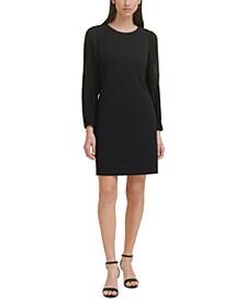 Pleated-Sleeve Sheath Dress