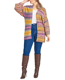 Plus Trendy Space-Dyed Kimono-Sleeve Cardigan