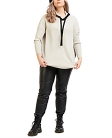 Plus Trendy Ribbed Hooded Sweater