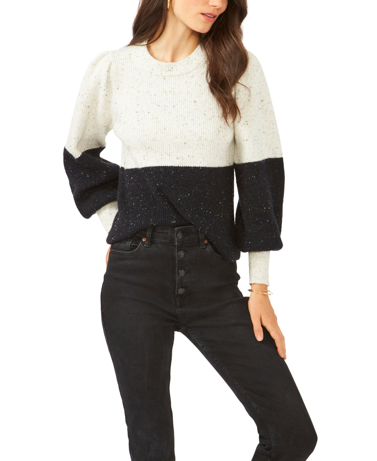 1.state Colorblock Bubble Sleeve Crew Neck Sweater