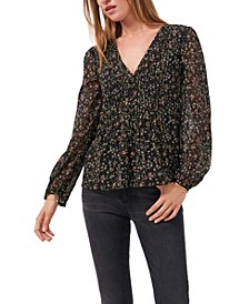 Long Sleeve V-Neck Pleated Button Front Top