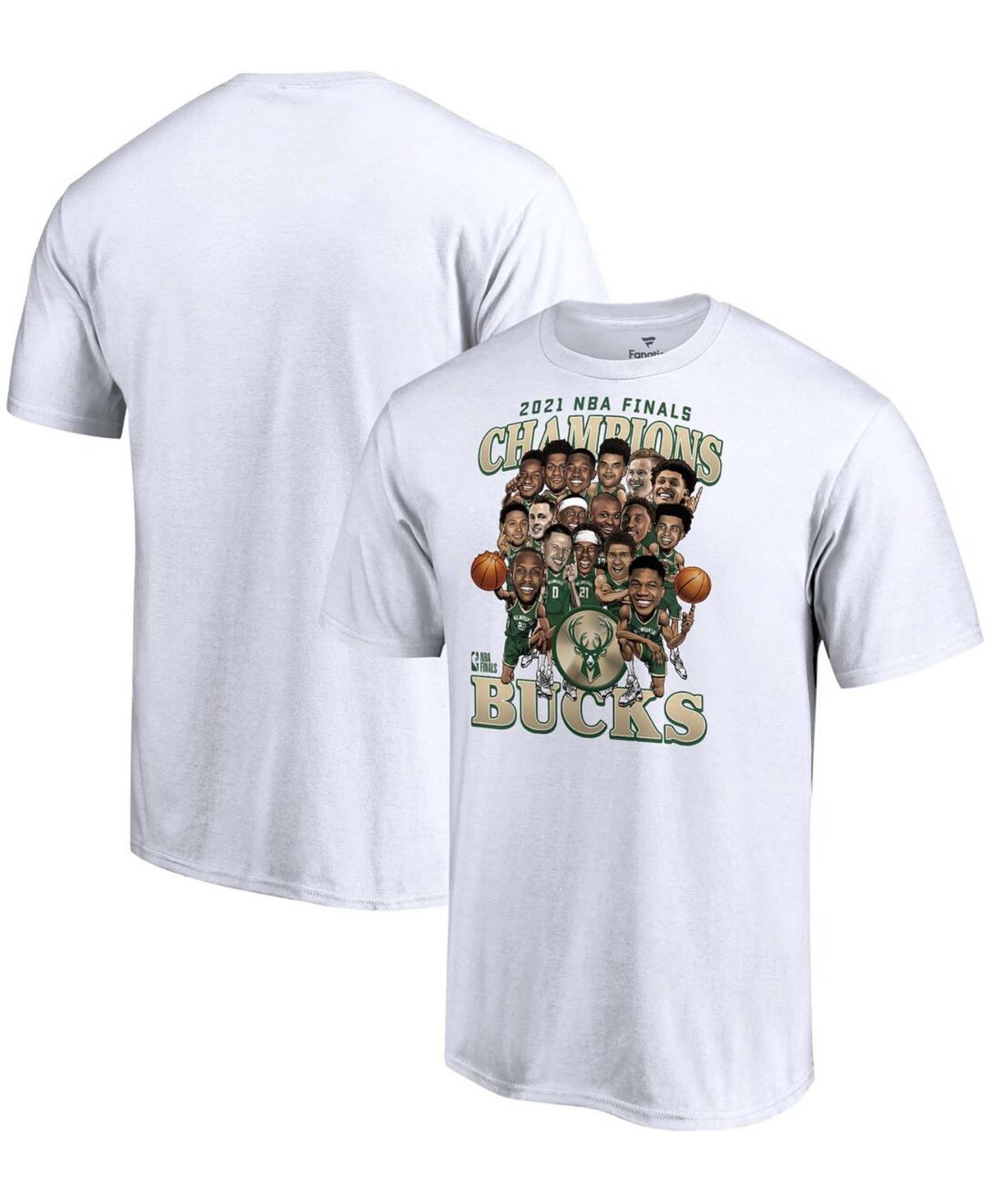Men's White Milwaukee Bucks 2021 Nba Finals Champions Team Caricature Roster T-shirt