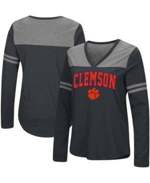 Women's Black Clemson Tigers Core Heritage Arch Logo V-Neck Long Sleeve T-shirt