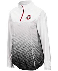 Women's White, Black Ohio State Buckeyes Magic Ombre Quarter-Zip Raglan Jacket